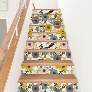 Wall Stickers DS00047 Stairs floral boutique Adhesive PVC decoration for wear-resistant washable and scratch-resistant stairs