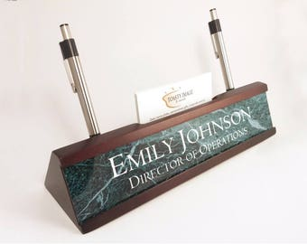 Personalized Desk Name plate nameplate business card and pen holder mahogany color desk wedge with green marble look aluminum insert
