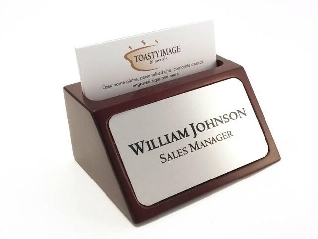 Desk name plate plaque business card holder mahogany color etsy image 0 colourmoves