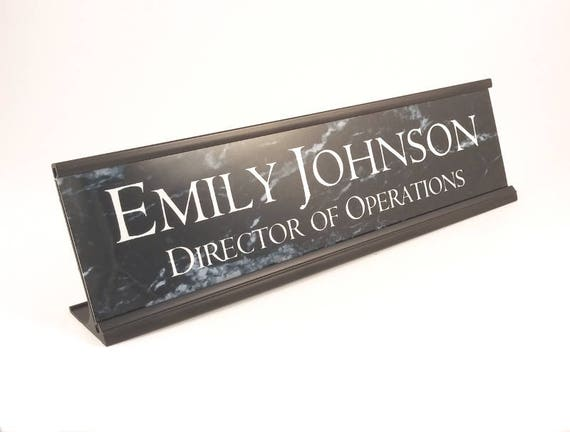 Personalized Gift Desk Name Plate Black Marble Look With