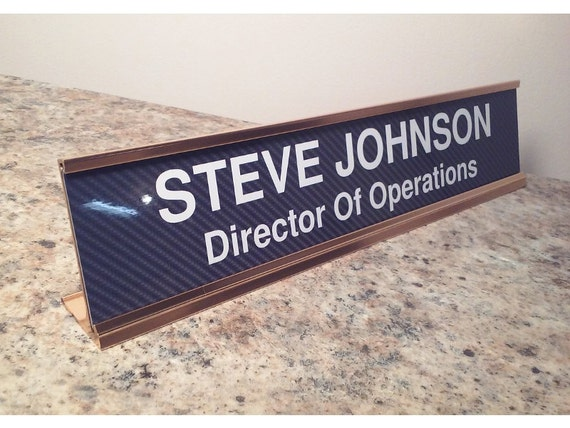 Personalized desk name plate aluminum with carbon fiber look insert large 2x10