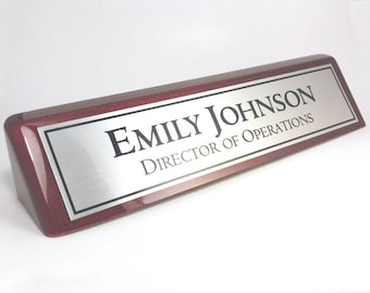 Personalized Desk Name plate nameplate rosewood piano wood color desk wedge silver aluminum plate