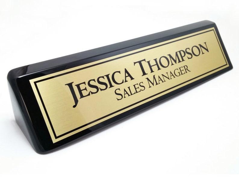 Bureau personnalisé nom plaque nom plaque noir brillant etsy
