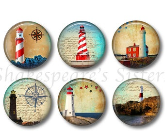 Lighthouse Magnets -  Set of Six 1.5 Inch Magnets - Nautical Ocean Kitchen Decor