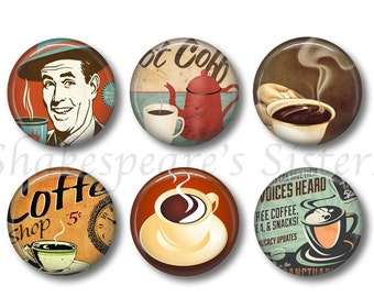 Coffee Magnets - Fridge Magnets - Coffee Kitchen - 6 Magnets - 1.5 Inch Magnets - Coffee Lover