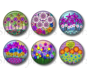 Cute Flower Magnets - Six Magnets - 1.5 Inch Round - Purple Floral Kitchen Decor