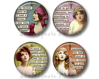 Sarcastic Humor - Fridge Magnets - Sarcastic Women - Funny Magnets - 1.5 Inch Magnets - 4 Magnets - Kitchen Magnets