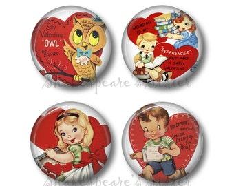 Valentine Magnets - Fridge Magnets - Heart Magnets - 4 Magnets - 1.5 Inch Magnets - Kitchen Magnets
