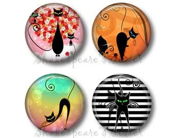 Black Cat Magnets - Fridge Magnets - Cat Magnets - Retro Kitty - 4 Magnets - 1.5 Inch Magnets - Kitchen Magnets