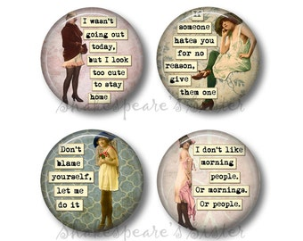 Sarcastic Women - Fridge Magnets - Morning Humor - Funny Magnets - 1.5 Inch Magnets - 4 Magnets - Kitchen Magnets