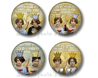 Drinking Buddies - Fridge Magnets - Drinking Magnets - 1.5 Inch Magnets - 4 Magnets - Friend Magnets - Kitchen Magnets