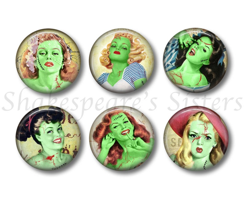 Zombie Magnets 6 Magnets Pin-Up Girls Kitchen Magnets Fridge Magnets 1.5 Inch Magnets Gothic Decor Frankenstein