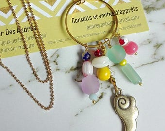 """Colorful long necklace """"Stopover in the Japan"""", various beads, glass Pearl, geometric necklace 40 cm,"""