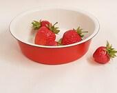 Vintage Finel Arabia orange -red Enamel Bowl 60s. Kaj Franck design. Retro kitchen ware.