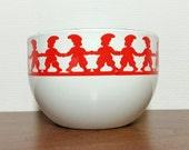 Kaj Franck Finel Arabia Christmas Enamel Bowl Tonttu. Red -white decor with elves. 60s