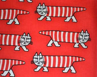 Retro fabric Swedish design red Mikey Lisa Larsson