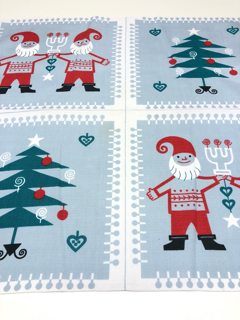 Wall textile artwork by Jerry Roupe Sweden Christmas walhanging tablecloth with Santa and ornaments.