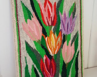 Tulip swedish Flemish woven  wall decoration. Framed wallhanging. Vintage tapestry.