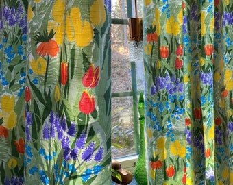 Vintage Swedish Curtains in tulips fabrics April by Lena Boije.