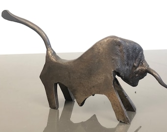 Reserved !!! Brutalist Sculpture bull in wrought iron, Mid century modern.