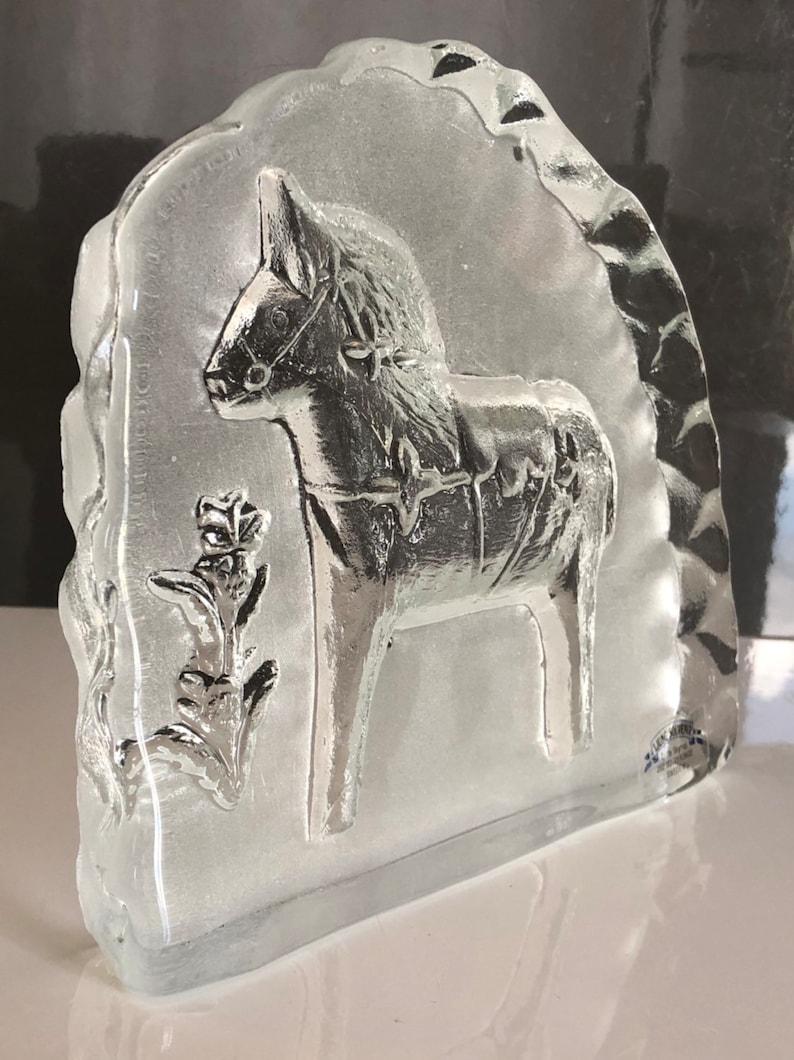 paperweight art glass Lindshammar. Swedish Dala horse