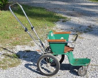 Vintage Metal Baby Stroller Green Wood Seat Carriage Buggy Coach  PanchosPorch