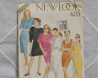 Vintage New Look 6253 Sewing Pattern Misses Dress for Knits Size 16 Crafts  DIY Sewing Crafts PanchosPorch