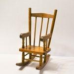 Vintage Doll Rocking Chair Mini Wooden Rocker Doll Furniture Shelf Display Decoration PanchosPorch