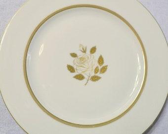Vintage Rosenthal Rose Dinner Plate Set of 4 Gold Rose Design Germany Replacement Panchosporch