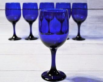 Vintage Cobalt Blue Water Goblet Set of 6 Wine Glass Premiere Cobalt Libbey Glass Stemware Barware Glassware Panchosporch