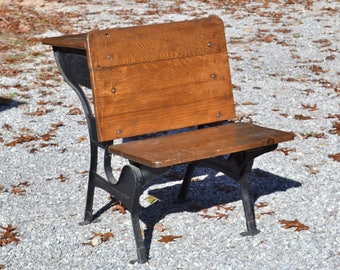 Vintage Childs School Desk And Chair Metal And Wood Old School Furniture  Home Schooling Photo Prop Display PanchosPorch