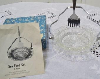 Vintage Seafood Set Glass Plate Chrome Handle Serving Fork Appetizer Relish Tray PanchosPorch