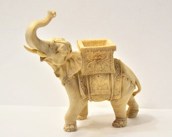 Vintage Elephant Figurine Detailed Resin Statue Trunk Up Lifelike Cream Color Italy Panchosporch
