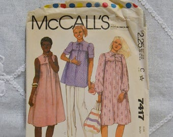 Vintage McCalls 7417 Sewing Pattern Misses Maternity Dress Top Pants Size 6 Crafts  DIY Sewing Crafts PanchosPorch