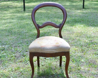 Vintage Balloon Back Chair Mahogany Needlepoint Seat Dining Side Chair  Victorian French Style PanchosPorch