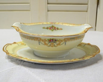 Vintage Noritake Sonora Gravy Boat with Underplate Floral Swag Blue Pink Gold Morimura Japan Replacement Elegant Dinnerware PanchosPorch