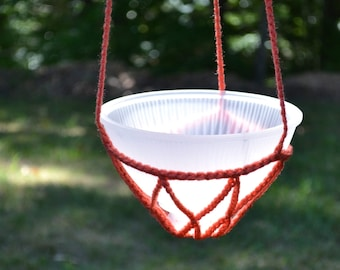Crochet Candle Holder Hanging Plant Potpourri Upcycle Recycle Glass Lamp Shade Coral Handmade  PanchosPorch