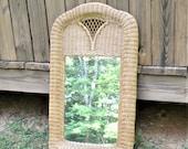 Vintage Large Wicker Mirror Natural Rattan Wall Mirror Entry Bedroom Bathroom Decor Panchosporch