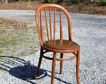 Vintage Bentwood Chair Upholstered Seat Curved Spindle Back Rest Dining Desk Chair Medium Tone Wood  PanchosPorch
