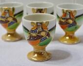 Vintage Mepoco Ware Egg Cup Set of 4 Saki Cup Satsuma Moriage Japan PanchosPorch