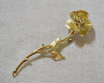 Vintage Floral Rose Brooch Pin Rhinestones Gold Tone Metal Costume Jewelry PanchosPorch