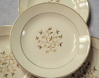 Vintage Floral Dessert Plate Set of 4 Earthy Neutral Colors Daisy Flower Unmarked PanchosPorch