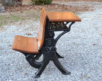 Vintage Caxton School Desk Cast Iron Metal And Wood Small Size Childrens  Kids Desk Antique Home Decor PanchosPorch