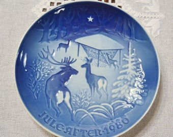 Vintage Christmas Plate 1980 Christmas in the Woods Blue and White Bing Grondahl B & G Copenhagen Porcelain Denmark PanchosPorch