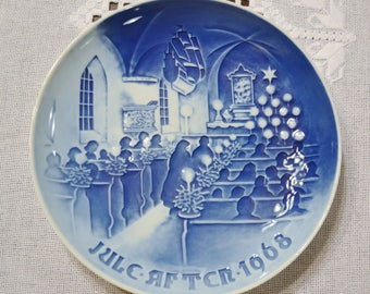 Vintage Christmas Plate 1968 Christmas in Church Blue and White Bing Grondahl B & G Copenhagen Porcelain Denmark PanchosPorch