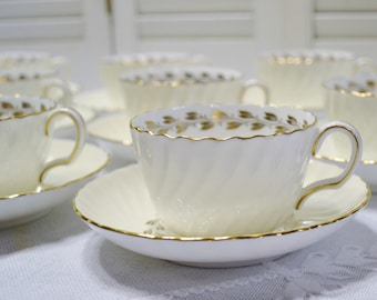 Vintage Minton Cheviot Gold Cup and Saucer Set of 9 Laurel Wreath Leaf Scalloped Edge Replacement England PanchosPorch