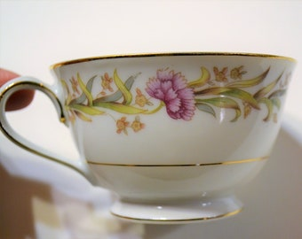 Vintage Shofu Footed Cup Pink Flowers Green Leaves Mid Century Dinnerware Japan Panchosporch