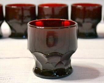 Vintage Georgian Ruby Red Glass Tumbler Set of 6 Flat Tumbler 5 oz Anchor Hocking Glassware Depression Pressed Glass PanchosPorch