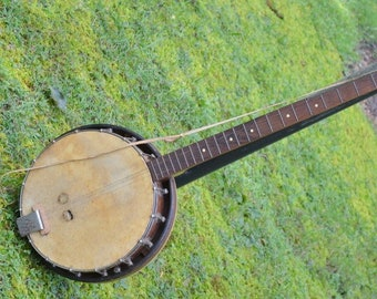 Vintage 4 String Banjo with Resonator Old Used Musical Instrument for Restoration Partial Label Blue Grass Country Music PanchosPorch