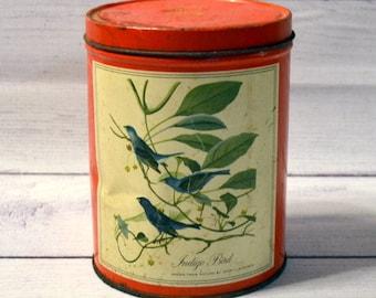 Vintage Indigo Bird Metal Tin John Audubon Bird Print Red Metal Tin Rustic Farmhouse Decor PanchosPorch